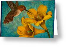 Hummingbird With Yellow Jasmine Greeting Card