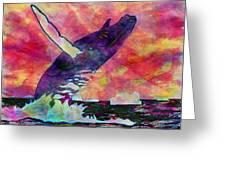 Humpback Whale Digital Color Greeting Card