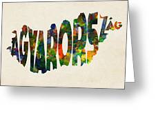 Hungary Typographic Watercolor Map Greeting Card by Inspirowl Design