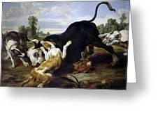 Hunted Bull Greeting Card