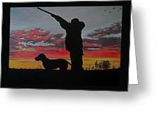 Hunting At Sunset Greeting Card