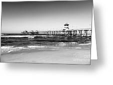 Huntington Beach Pier Black And White Picture Greeting Card by Paul Velgos