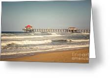 Huntington Beach Pier Retro Toned Photo Greeting Card by Paul Velgos