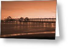 Huntington Beach Pier - Twilight Sepia Greeting Card by Jim Carrell