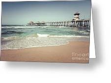 Huntington Beach Pier Vintage Toned Photo Greeting Card by Paul Velgos
