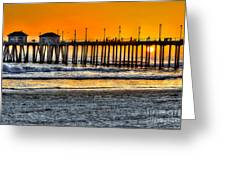 Huntington Beach Sunset Greeting Card by Jim Carrell