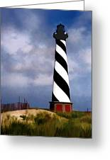 Hurricane Coming At Cape Hatteras Lighthouse Greeting Card