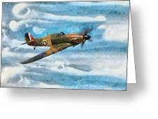 Hurricane Fighter Watercolour Greeting Card