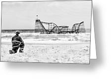 Hurricane Sandy Fireman Black And White Greeting Card by Jessica Cirz