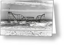 Hurricane Sandy Jetstar Roller Coaster Black And White Greeting Card