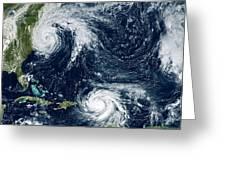 Hurricanes Maria And Jose Greeting Card