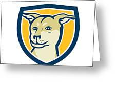 Husky Shar Pei Cross Dog Head Shield Cartoon Greeting Card