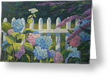 Hydrangeas Fence Greeting Card