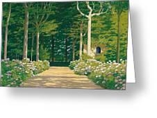 Hydrangeas On A Garden Path Greeting Card