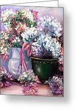 Hydrangeas Still Life Pink Greeting Card