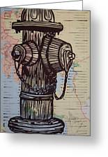 Hydrant On Map Greeting Card by William Cauthern