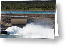 Hydro Power Station Dam Open Gate Spillway Water Greeting Card
