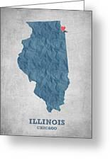 I Love Chicago Illinois - Blue Greeting Card
