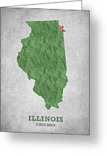 I Love Chicago Illinois - Green Greeting Card