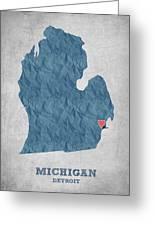 I Love Detroit Michigan - Blue Greeting Card