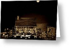 Midnight Reflections Of The Old Time Classic 1908 Model T Ford In Sepia Color Greeting Card
