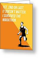 I Survived Marathon Runner Retro Poster Greeting Card
