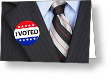 I Voted Pin On Lapel Greeting Card