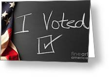 I Voted Sign On Chalkboard Greeting Card