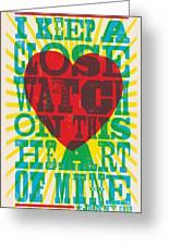 I Walk The Line - Johnny Cash Lyric Poster Greeting Card
