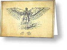 Icarus Flying Machine Patent Drawing-vintage Greeting Card