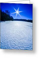 Ice And Snow Frozen Over Lake On Sunny Day Greeting Card