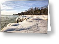 Ice Covered Shores Of Lake Michigan Greeting Card