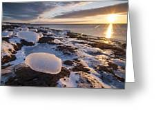 Ice Cubes And Sunrise Greeting Card