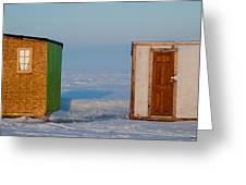 Ice Fishing Huts Canada Macro Greeting Card