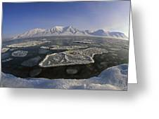 Ice Floes And Mountains Svalbard Norway Greeting Card