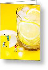 Ice Making For Lemonade Little People On Food Greeting Card
