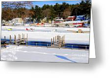 Planes On The Ice Runway In New Hampshire Greeting Card