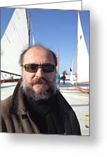 Ice Sailing On The Hudson Beard Contest Greeting Card