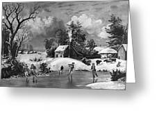 Ice Skating, 1880 Greeting Card