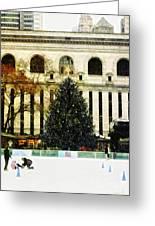 Ice Skating During The Holiday Season Greeting Card by Nishanth Gopinathan