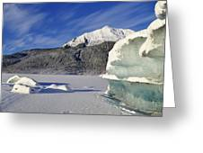 Iceberg And Mount Mcginnis Greeting Card