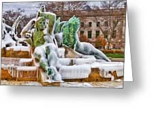 Iced Swann Fountain Greeting Card