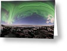 Iceland Aurora Beach Panorama Greeting Card