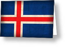Iceland Flag Vintage Distressed Finish Greeting Card by Design Turnpike