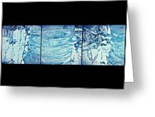 Icicle Abstract Triptych 2 Blue Greeting Card by Marie Spence