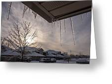 Icicles Hanging From Roof Greeting Card