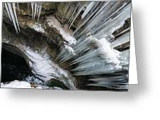 Icicles Hanging In Rocky Gorge In Cold Winter Greeting Card