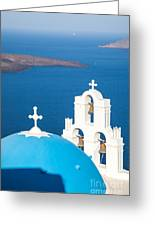 Iconic Blue Cupola Overlooking The Sea Santorini Greece Greeting Card by Matteo Colombo