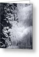 Icy Cliff - Black And White Greeting Card
