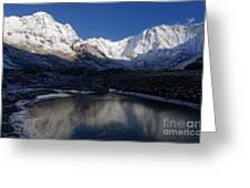 Icy Lake And Annapurna Greeting Card